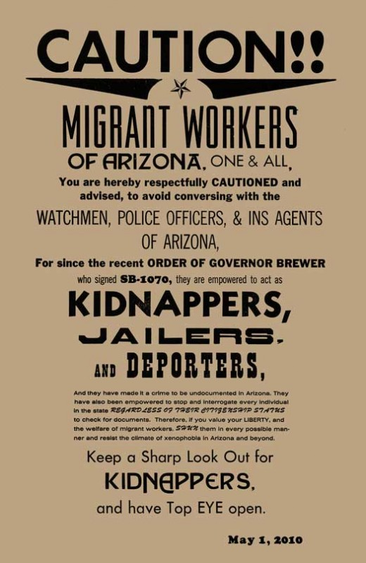 Caution!! Migrant Workers of Arizona, One and All