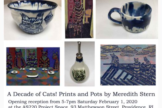 A Decade of Cats! Prints and Pots by Justseeds member Meredith Stern