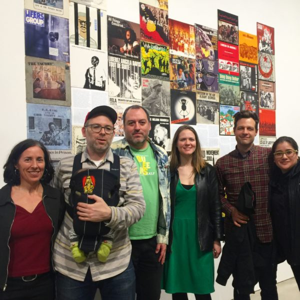 Interference Archive crew during Whisper or Shout exhibition at BRIC House