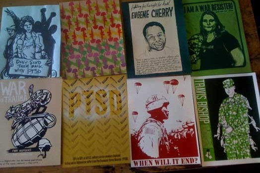 War is Trauma exhibition at the Clearing Barrel – a GI Resistance Coffee House in Germany