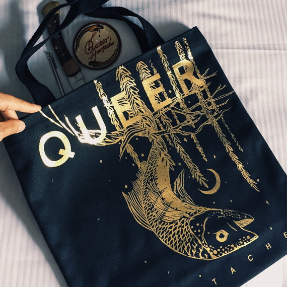 Queer Heartache Gold Tote