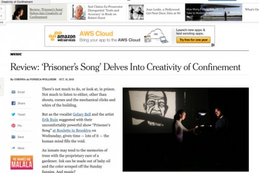 "Erik Ruin's ""Prisoner's Song"" reviewed in the New York Times"