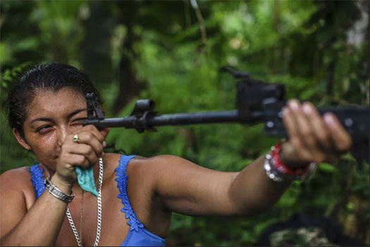 A woman in a forest setting looks down the barrel of a disassembled rifle