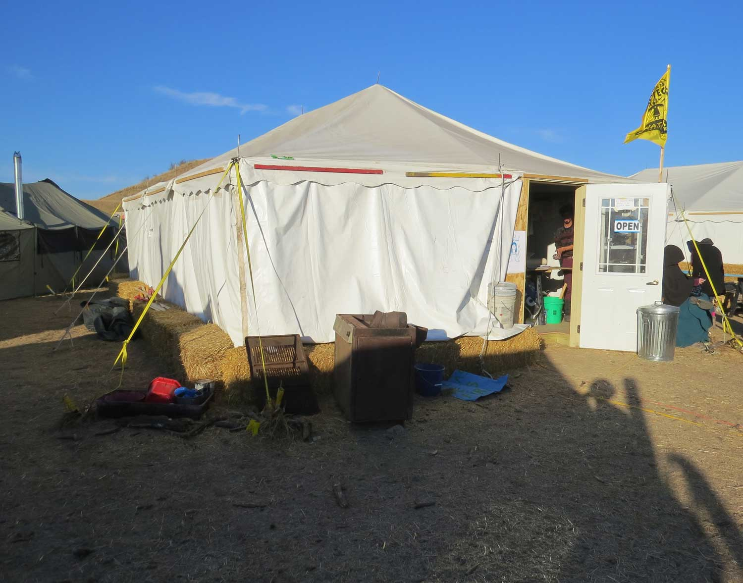 Art tent at the Oceti Sakowin c& at Standing Rock & Justseeds | Nicolas Lampert