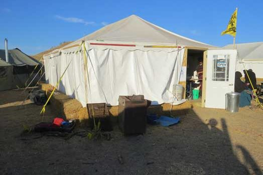 Art tent at the Oceti Sakowin camp at Standing Rock
