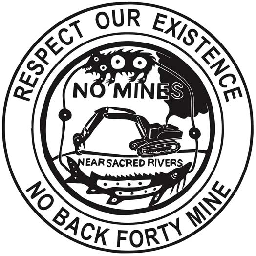 Respect Our Existence / No Back Forty Mine – black and white version