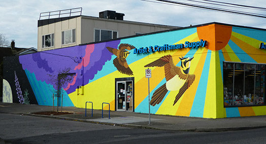 Endangered Species Mural #12: Streaked Horned Lark & Kincaid's Lupine