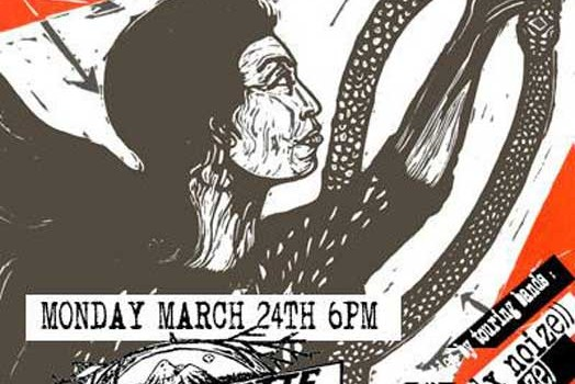 Justseeds print show/PAH book talk in a box car at the BBCRC: March 24th