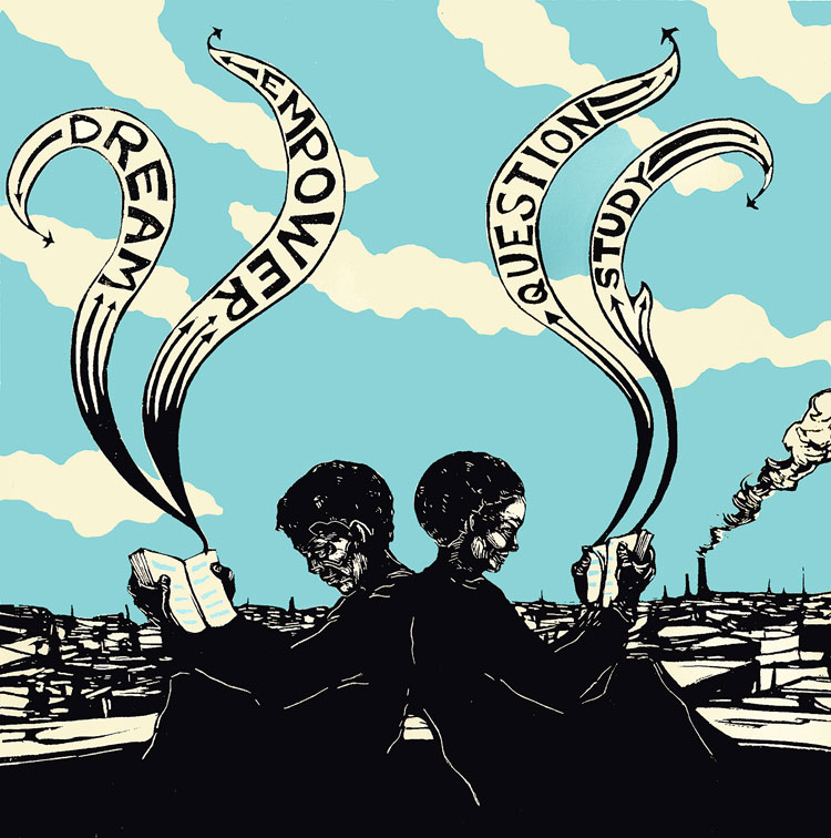"Illustration of two people reading. Banners from their books read ""Dream,"" ""Empower,"" ""Question,"" and ""Study."""