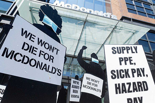 The Making of a Fight for $15 Silhouette Protest Against McDonalds During the Covid-19 Pandemic