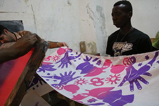Silkscreen Printing in Jacmel, Haiti