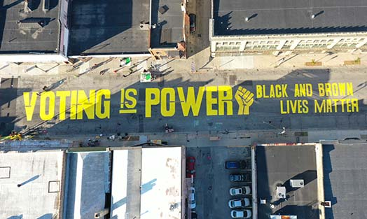 Voting is Power: Black and Brown Lives Mater street painting in Milwaukee- videos